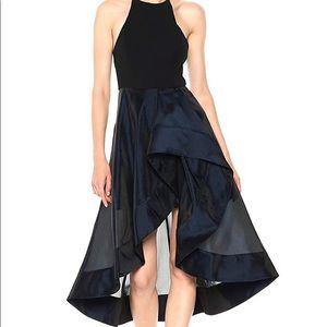 Halston Heritage High Neck dress with sheer skirt